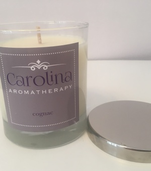 large cognac candle carolina aromatherapy